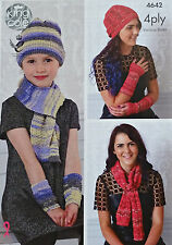 KNITTING PATTERN Ladies/Girls Hat Scarf Wristwarmers Party Glitz 4ply 4642