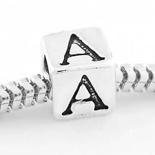 STERLING SILVER CUBE INITIAL A CUBE EUROPEAN BEAD