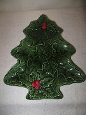 Vintage Ceramic Christmas Tree Plate - 1980 - Hand Made by Jan