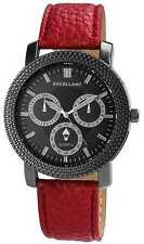 EXCELLANC WOMEN'S WATCH BLACK RED CHRONO LOOK XXL FAUX LEATHER WRISTWATCH