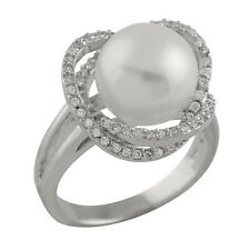 Fancy Sterling Silver Ring with 10-11mm button freshwater pearl and CZ RS-130