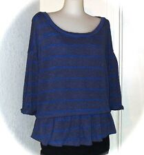 NWT ANTHROPOLOGIE 9-HI5 STOL Striped Blue Ruffle Flounce Knit Top SZ L