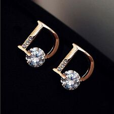 2 Charm Gold Ear Stud Earings Letter D Chic Vogue Stud Earrings Women Jewelry RW