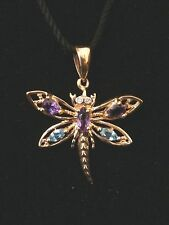 Stunning 10k Yellow Gold Butterfly Amethyst and Aquamarine Pendent #236