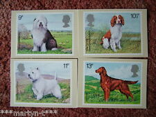 PHQ Stamp cards FDI (Back) No 33 British Dogs 1979. 4 card set. Mint Condition
