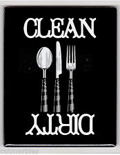 METAL DISHWASHER MAGNET Knife Spoon Fork Black Background Clean Dirty Dishes X