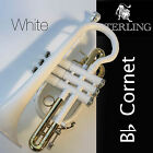 Sterling Bb CORNET • Gleaming WHITE • With Case and Accessories • BRAND NEW •