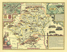 Hertford HERTFORDSHIRE Hand Colour Framed & Mounted Replica Speed c.1610 Old Map