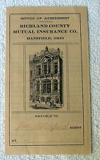 1915 NOTICE OF ASSESSMENT RICHLAND COUNTY MUTUAL INSURANCE CO MANSFIELD OHIO #g6