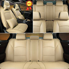 Car Auto Seat Cover PU Leather Front Rear Cushion For Ford F-150 2010-2016 Beige