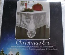 "CHRISTMAS EVE KNIT TABLECLOTH SLEIGH REINDEER PATTERN NEW! 60"" X 104"" oblong"