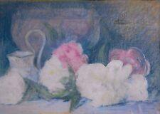 PASTEL DEBUT XX FLEURS NATURE MORTE 1929 tableau peinture painting artprice