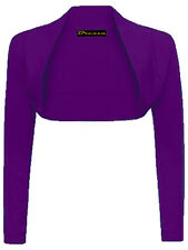 WOMENS LADIES PLAIN LONG SLEEVE BOLERO SHRUG CROPPED CARDIGAN TOP SIZES 8-24