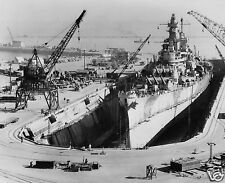 "USS Iowa Drydock San Francisco 1945 World War 2 Navy, 5x4"" Reprint Photo"