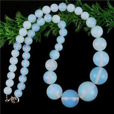 6-14mm Sri Lanka Moonstone Round Beads Necklace 17''