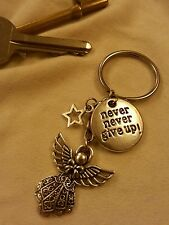 """Never, Never Give Up"" with Guardian Angel & Star Keyring. Gift. Handmade"