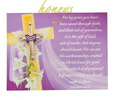 Beautiful Goldtone Easter CROSS WITH SASH PIN and CARD SET in GOLD ORGANZA BAG
