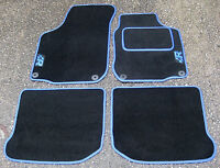 """Car Mats in Black with Blue Trim to fit VW Golf Mk4 + Blue """"R"""" Logos + Fixings"""