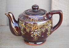 Old Vintage Handpainted Redware Tea Pot w Lid Brown Glaze ~ Japan  a