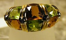 Gold 14K 585 Ring mit Peridot Citrin +4Bril.0,04CT  Gr 56