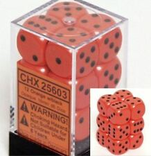 Chessex Dice d6 Sets:Opaque Orange with Black-16mm Six Sided Die 12 B. CHX 25603
