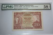 (PL) NEW: 20 CENTS KNB9b 1941 MALAYA / BRITISH ADMINISTRATION PMG 58 EPQ