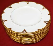 "MINTON H2482 9"" GOLD ENCRUSTED ROSE Plates - SET of 11"