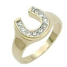 18K GOLD EP CZ  WOMENS LUCKY HORSE SHOE RING sz 10 or T 1/2