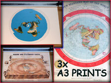 3X  FLAT EARTH PRINT, GLEASONS MAP - A3 size - SQUARE & STATIONARY - USGS MAP