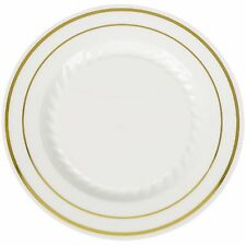 """10"""" Premium Heavy Duty Plastic Dinner Plates Ivory with gold trim (1 case)"""