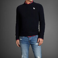 Abercrombie By Hollister Men's Muscle Fit Sweater NavyCrew Neck  Size M