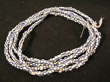 Strang alte Glasperlen Old blue striped white Venetian Glass Trade beads Afrozip