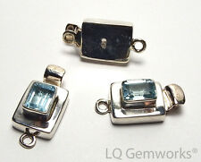 BLUE TOPAZ 925 Sterling Silver 22mm Faceted Box Clasp /B2