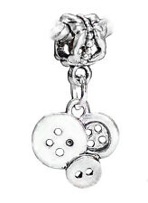 Buttons Sewing Seamstress Craft Dangle Bead for Silver European Charm Bracelets