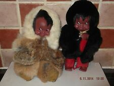 2 x Vintage Regal Canada Eskimo Dolls all Original - Fur / Suede Clothing - Doll