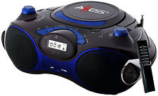 Axess PB2704 Blue Portable Boombox MP3 /CD Player Text Display  AM/FM Stereo,USB