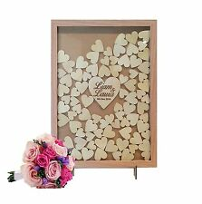 Rustic Wooden-colour Heart Drop Box Wedding Guestbook 100 hearts wishing well