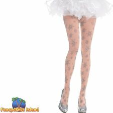 FESTIVE FROZEN SNOWFLAKE TIGHTS - One Size - womens ladies fancy dress costume