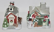 Lot of 2 PARTY LITE Ceramic Tea Light Village Houses Toy Shop and School House