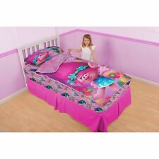 TROLLS POPPY And Petals ZIP IT 3 PIECE TWIN BEDDING SET ZIP IT TO MAKE YOUR BED