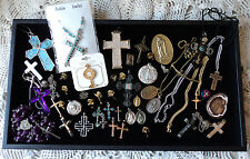 crosses  Religious Medals  cross necklaces earrings ! lot of 50 + pieces