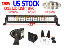 """22"""" 120w Cree Led work Light Bar Spot Flood Combo Driving OffRoad 4WD Lamp Boat"""