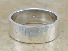THICK .925 STERLING SILVER 8MM HAMMERED BAND RING size 10  style# r2338