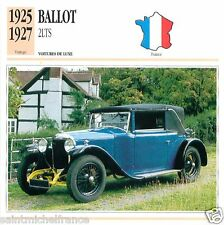 BALLOT 2LTS 1925 1927 CAR VOITURE FRANCE CARTE CARD FICHE