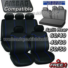 Black Blue Stitching Air Bag Friendly 5 Headrests Split Rear Car Seat Covers Set