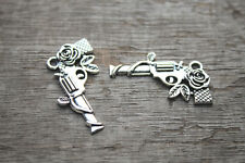 15pcs--Gun Charms Silver Tone Guns and Roses Charm Pendant 19x31mm
