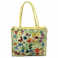 Hand Painted Leather Handbag Flowers Butterflies Off White Tote Bag Shopper