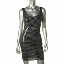 $80 Aqua Silver/black Open back Party Clubwear Dress L see measureme M 10 xppo