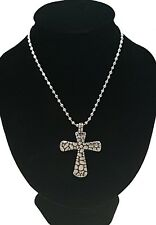 Men's Silver Stainless Steel Cross Pendant With Necklace Sp32 USA Seller