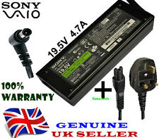 GENUINE ORIGINAL CHARGER AC ADAPTER 90W SONY VAIO VGP-AC19V31 + UK POWER CABLE